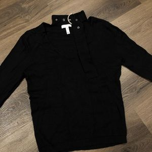 leith cute buckle neck detail sweater